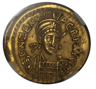 EASTERN ROMAN EMPIRE Zeno,AD 474-491 AV Solidus(4.46g)【AU Strike:5/5 Surface:1/5 plugged】