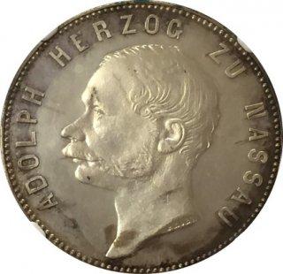 1861 GERMANY TALER NASSAU - MINT VISIT【PF63 CAMEO】