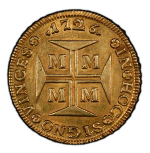 BRASILIEN. 20000 Reis 1726-M KM-117【AU58】