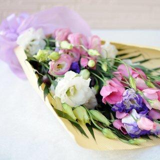 トルコギキョウのミックス色の花束