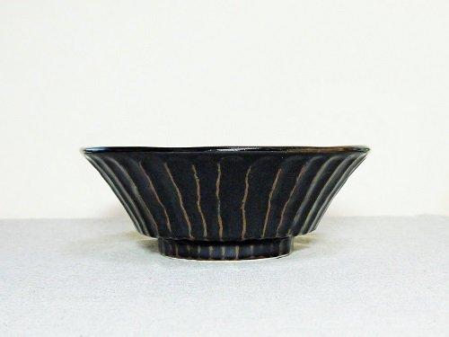 美濃焼 ざっくり麺鉢 黒