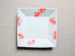 赤りんご絵角皿 16.8�