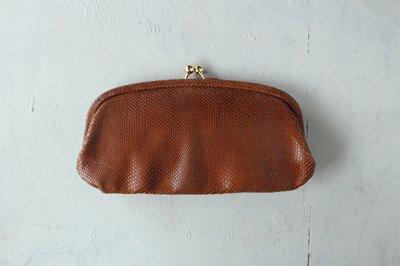 StitchandSew/ステッチアンドソー がま口長財布(リザード型押し・ブラウン / ブラック)CLW105