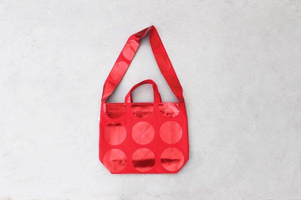 【再入荷】La+h / ラス  8号帆布ラージドットショルダー KOB-1 (red / red)