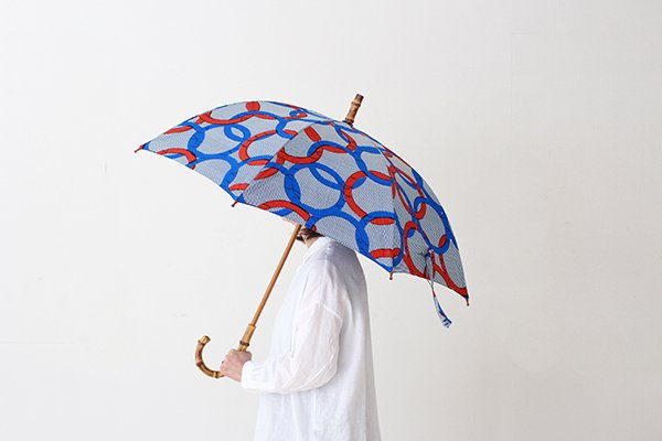 Sun mi サンミ 60cm × 8本骨 アフリカンバティック 晴雨兼用傘【UV&撥水加工】