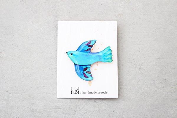 hiish ブローチ 南国の小鳥ブローチ ブルーラズベリー (14)
