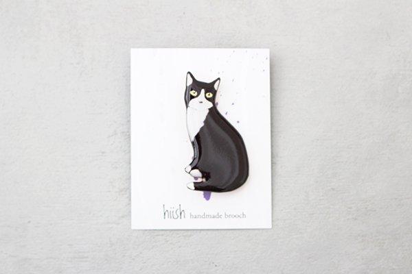 hiish ブローチ 白黒猫 オスワリ  (18)