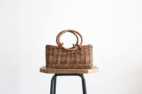宮本工芸 あけびの籠 バッグ  台形リング手[1]