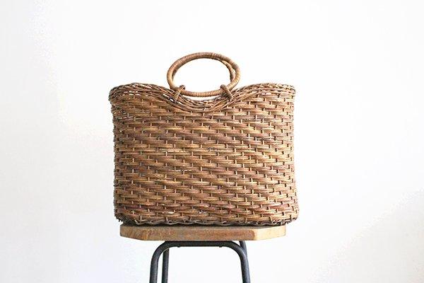 宮本工芸 あけびの籠 バッグ  薄型ホラ編リング手 大[7]