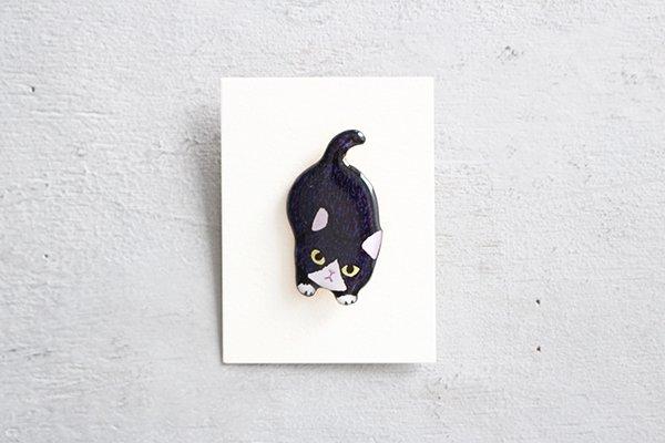 【再入荷】hiish ブローチ 子猫のブローチ(ハチワレ黒) (53)