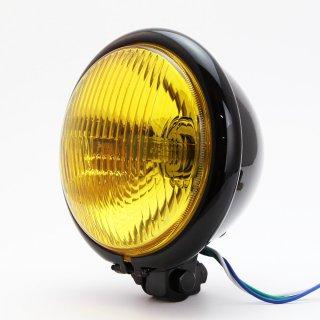 ヘッドライト 5-3/4インチ 5.75インチ ベーツタイプ カットレンズ ブラックハウジング イエローレンズ