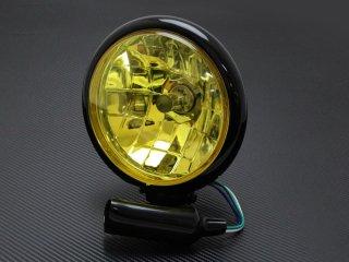 ヘッドライト 5-3/4インチ 5.75インチ ベーツタイプ マルチリフレクターレンズ ブラックハウジング イエローレンズ