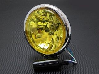 ヘッドライト 5-3/4インチ 5.75インチ ベーツタイプ マルチリフレクターレンズ メッキハウジング イエローレンズ