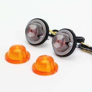 ラウンドウインカー カウル用 2個セット オレンジ/クリア コンプリートKIT