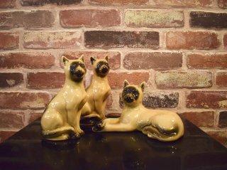 ビンテージ 陶器ネコ オブジェ セット