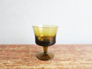 ビンテージ アンバーガラスデザートグラス