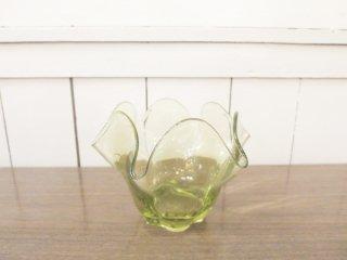 ビンテージ グリーンガラス小物入れ