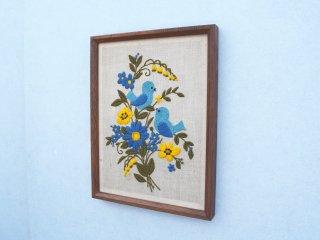 ビンテージ 70's 刺繍バードウォールデコ
