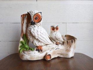 ビンテージ 70's 陶器フクロウプランター