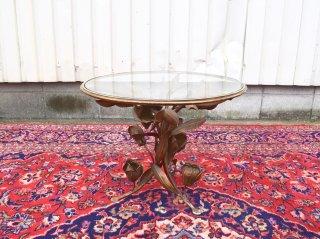 ビンテージ ガラストップフラワーテーブル
