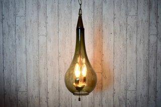 ビンテージ スモークガラス3灯ペンダントランプ