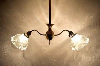 アンティーク 2灯ブラスシーリングライト