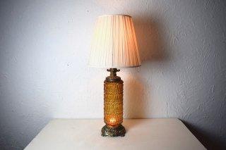 ビンテージ 2灯アンバーガラステーブルランプ