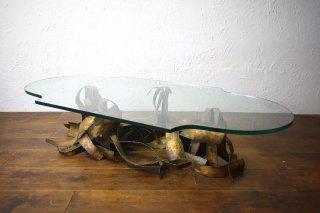 ビンテージ 70's BRUTALIST ガラストップコーヒーテーブル