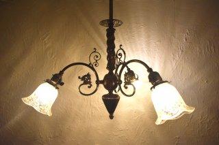 アンティーク 3灯アイアン×ガラスランプ