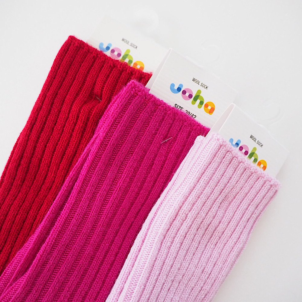 joha/wool ribsocks 【red/purple/natural】