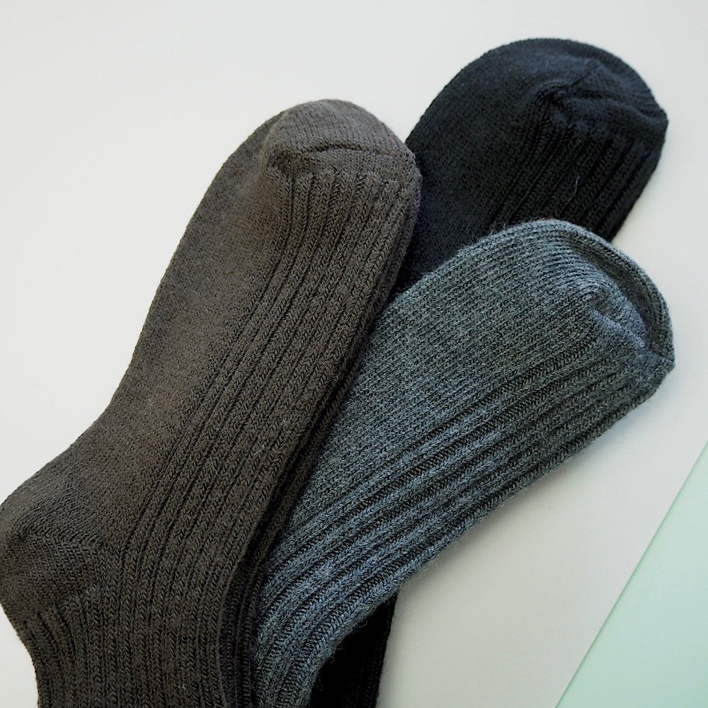 joha/wool ribsocks 【black/brown/charcoal】