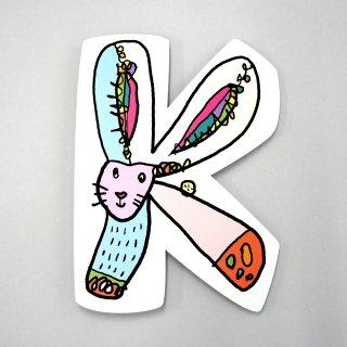 【メール便OK】小西慎一郎 アルファベットアニマルポストカード [K] ウサギ