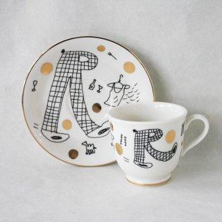 【ギフト】【ペアカップ】studio coote スタジオクート 小西慎一郎 アルファベット コーヒーカップ&ソーサ[R]