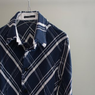 bajra カラミ織りストレッチ チェックシャツ(120BS01)NVY