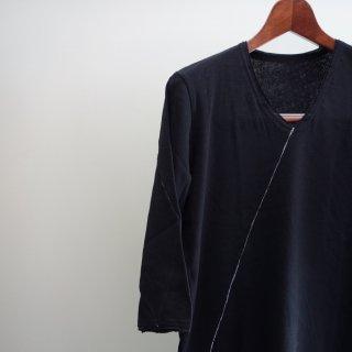 bajra 65/2 糸ジル 2x1リブ 天竺洗い H/S V-NECK(120BK12)BLK