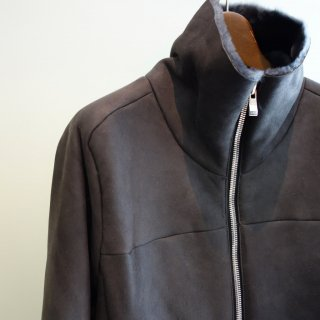 incarnation highneck zip front gloves sleeve shearling blouson(11391-4350)BLK/GRY