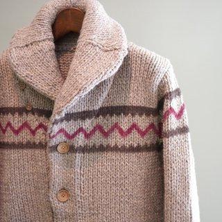 ISAMU KATAYAMA  BACKLASH シェトランドウール手編みスプレープリント カウチン(K760-01)
