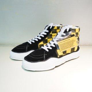 Maison MIHARAYASUHIRO original sole BIG gingham hi top sneaker(A03FW707)BLK/YEL