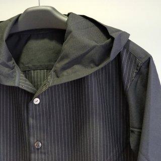 ISAMUKATAYAMA BACKLASH ポリエステル レーヨンストライプ フードシャツ(1964-02)
