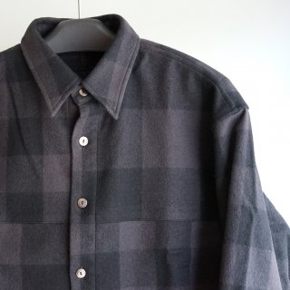 ISAMUKATAYAMA BACKLASH ウールチェック ストレッチシャツ(1960-01)BLK