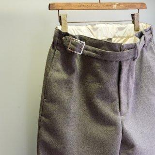 ISAMUKATAYAMA BACKLASH ウールカシミヤ メルトン ベルト付きパンツ(1958-01)GRY