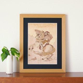 【送料無料】木はり絵アート「アルプスを越えるナポレオン」(額縁入り完成品)
