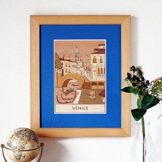 【送料無料】木はり絵アート「ヴェネツィア」(額縁入り完成品)