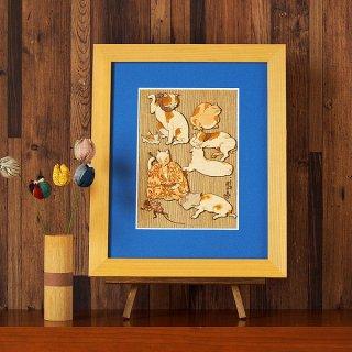 【送料無料】木はり絵アート「たとゑ尽の内 その1」(額縁入り完成品)