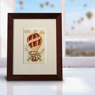 木はり絵アート「フラワーバルーン」(額縁入り完成品)