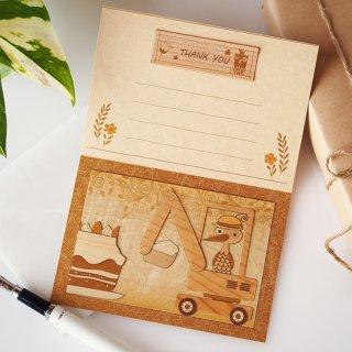 【送料無料】木はり絵グリーティングカード「ショベルカーの運転手」