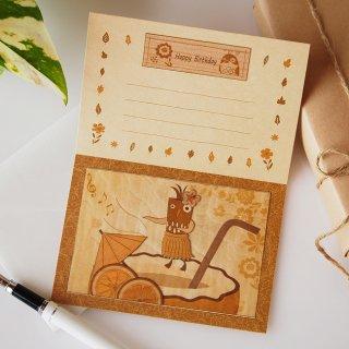 【送料無料】木はり絵グリーティングカード「フラダンス」