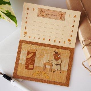 【送料無料】木はり絵グリーティングカード「空手」