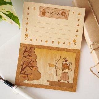 【送料無料】木はり絵グリーティングカード「弓道」