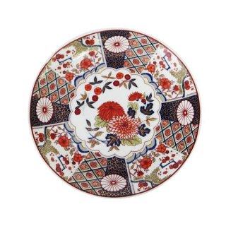 昭和レトロ食器(日本製)16cm皿 レトロ 赤絵菊柄皿 プレート